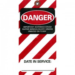 Tyvek Equipment Danger Tag